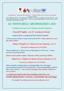 le notti del'archeologia 2021 a San Caprasio